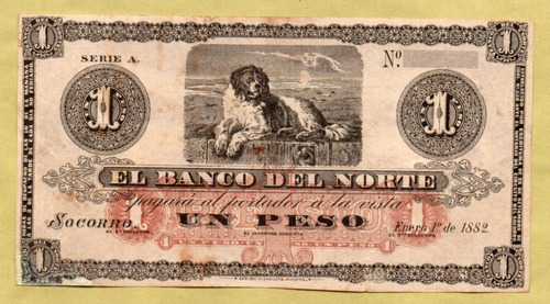 billete banco norte 1 peso restaurado