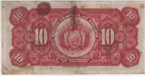 billete bolivia 10 bolivianos 1928 pick 121a  mb
