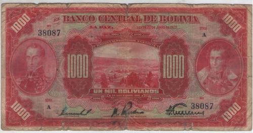 billete bolivia 1000 bolivianos 1928 pick 127b  mb-