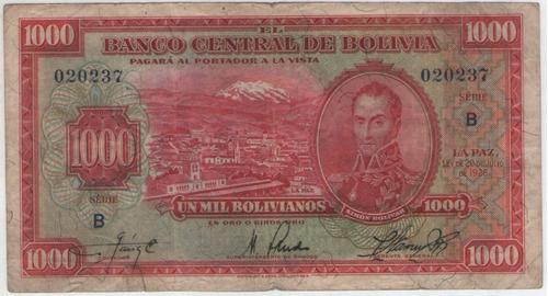 billete bolivia 1000 bolivianos 1928 pick 135  mb+