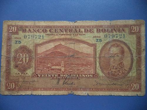 billete bolivia 20 bolivianos ley de 1928