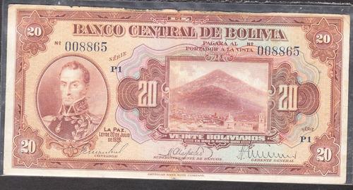 billete bolivia banco central 20 bolivianos dos volivares