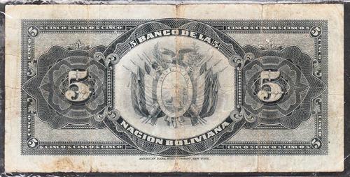 billete bolivia banco de la nacion boliviana 5 volivares