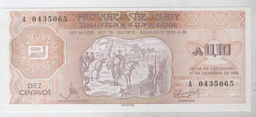 billete bono jujuy 10 centavos de austral sin circular!!!!