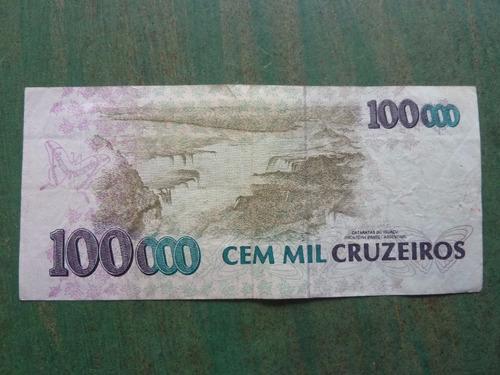 billete brasil 100000 cruzeiros foto referencial - vp