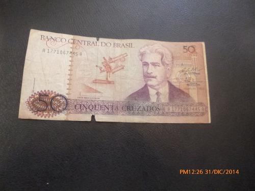 billete brasil  50 cruzados -oswaldo cruz (c-7-3