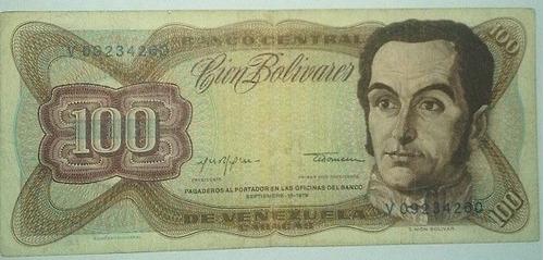 billete bs. 100 18/09/1979 serial v09234260  f