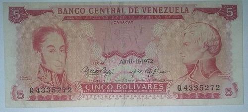 billete bs. 5 11/04/1972 serial q4335272 (vf)