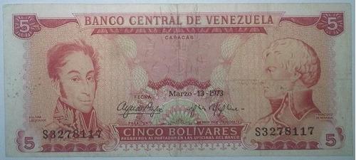 billete bs. 5 13/03/1973 serial s3278117 (f)
