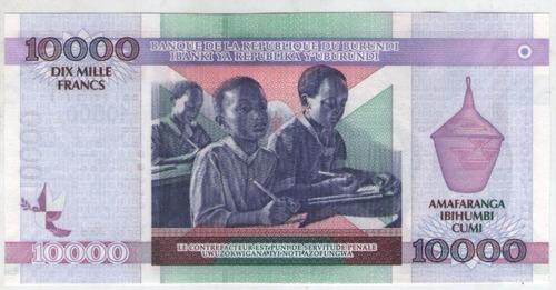 billete burundi 10000 francos 2004  pick 43  s/c