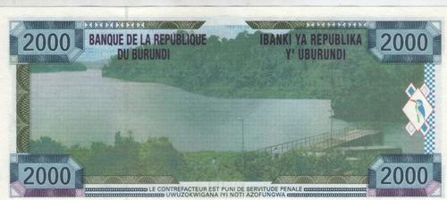 billete burundi 2000 francos 2001 pick 41  s/c