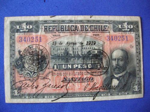billete chile- 1 peso republica de chile 13 agosto 1919