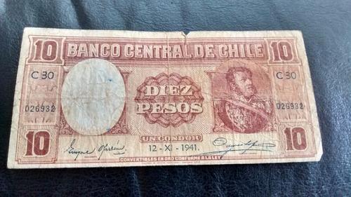 billete chile 10 pesos 12-11-1941  oyarzun meyerholz (c-3-4