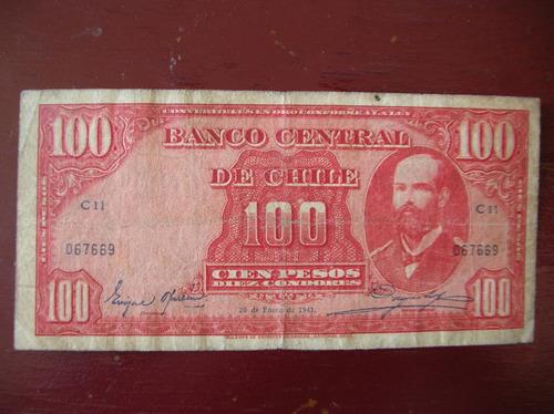 billete chile- 100 pesos-10 condores 20 de enero de 1943