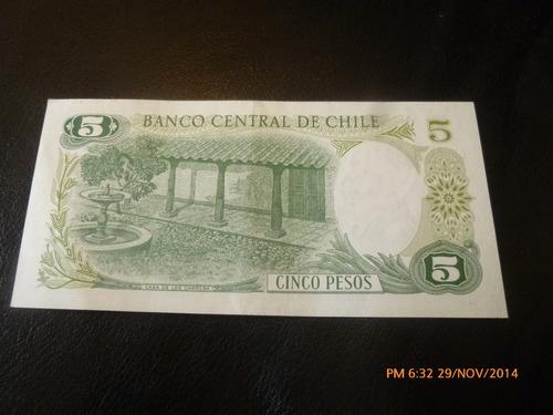 billete chile 5 pesos 1975 barahona molina (c-33-6