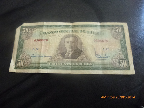 billete chile 50 escudos mackenna ibañez (c-3-15