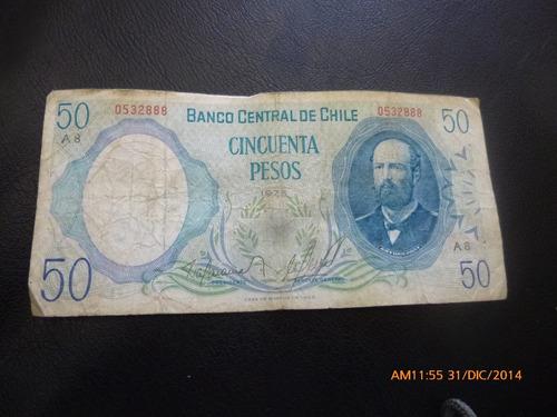 billete chile 50 pesos barahona molina  1975-  (c-34-5