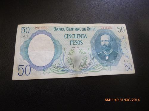 billete chile 50  pesos barahona molina --1976 (c-3-8
