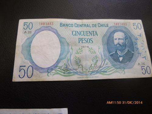billete chile 50  pesos barahona molina --1976 (c-34-2