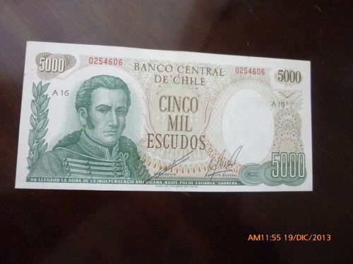 billete chile 5000  escudos cano -molina 1973 (c-33-3
