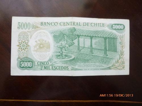 billete chile 5000  escudos cano -molina 1973 (c-33-4
