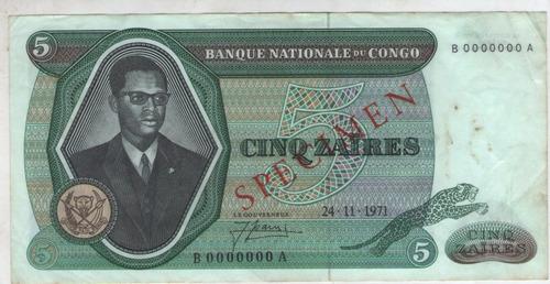 billete congo 5 zaires 1971  specimen pick 14s