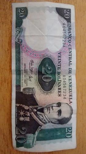 billete conmemorativo 20 bs. octubre de 1987 - serial !!