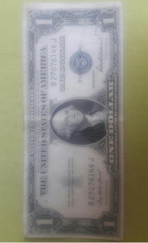 billete de 1 dólar americano sello tinta azul año 1935