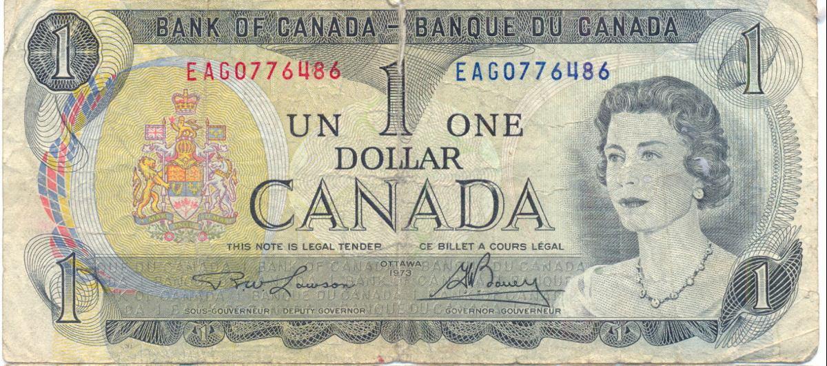 Billete De 1 Dolar Canada 1973 20 00 En Mercado Libre