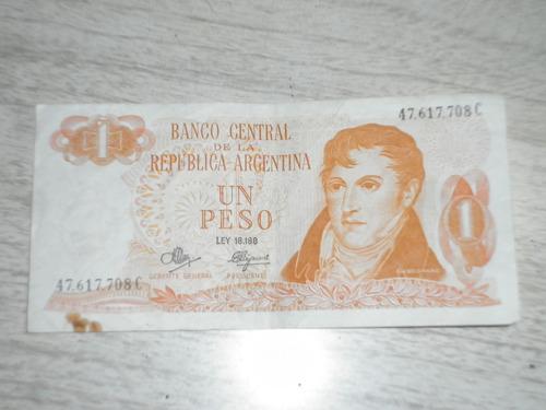 billete  de 1 peso argentino, década del 80