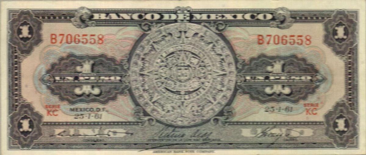 Calendario Del 1961.Billete De 1 Peso Calendario Azteca 1961 50 00