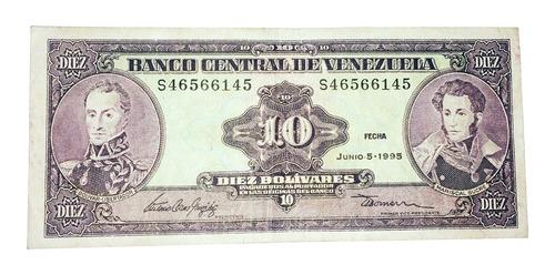 billete de 10 bolívares 5 de junio de 1995 serial s46566145