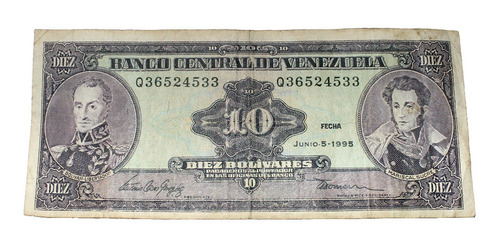billete de 10 bolívares 5 junio 1995 serial q36524533
