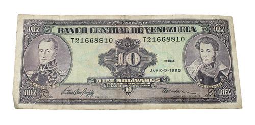 billete de 10 bolívares 5 junio 1995 serial t21668810