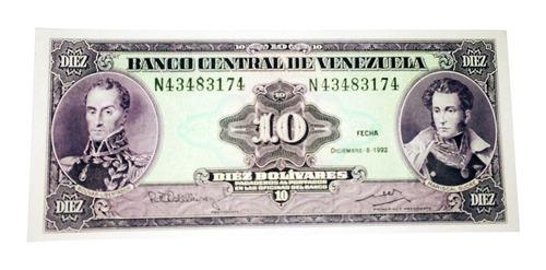 billete de 10 bolívares 8 diciembre de 1992 serial n43483174