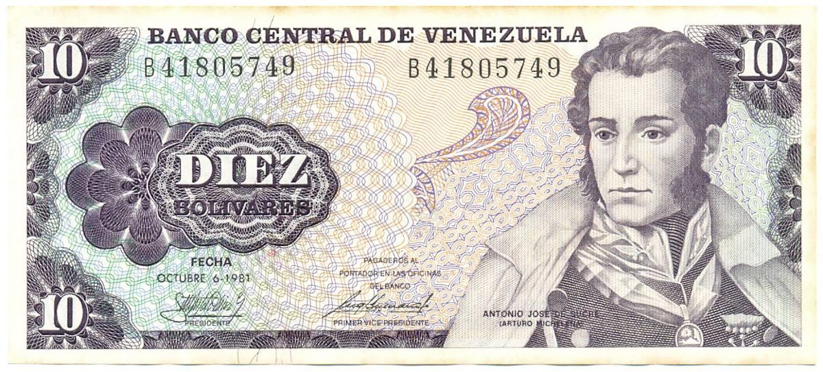 Billete de 10 bol vares octubre 6 de 1981 serial b8 bs for Banco de venezuela solicitud de chequera