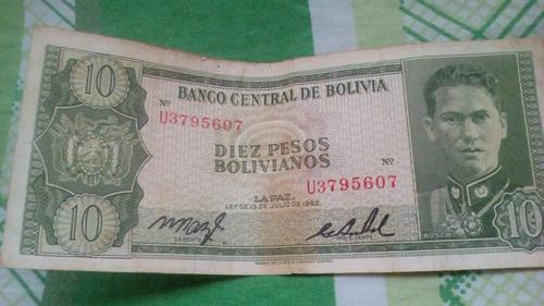billete de 10 bolivianos de 1962