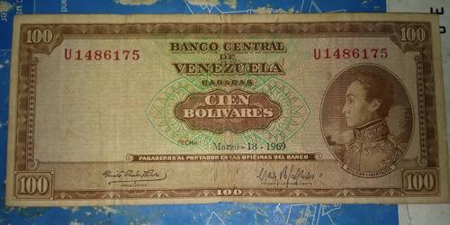 billete de 100 bolivares del año 1969 (10 al día)