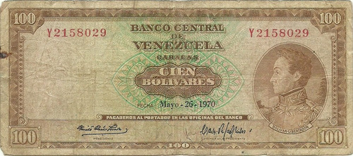 billete de 100 bolívares mayo 26 1970