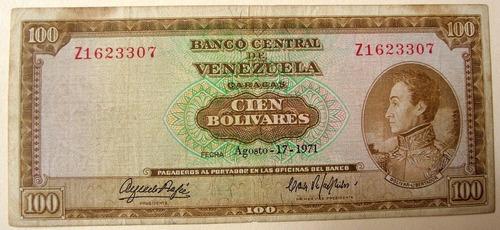 billete de  100 bs 1971 z7 marrón