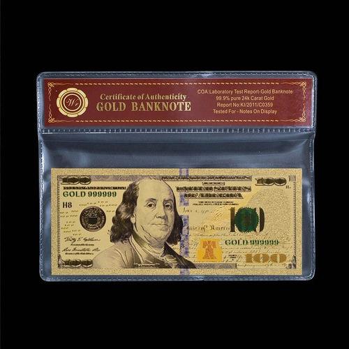 billete de 100 dolares baño de oro en sobre certificado