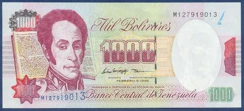 billete de 1000 bolívares febrero 5 de 1998 serial m9   au