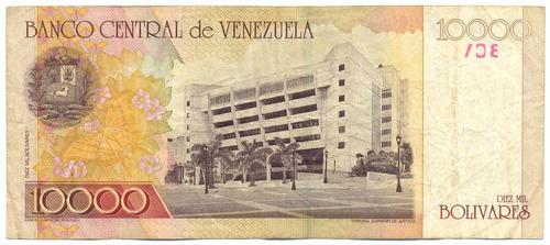 billete de 10.000 bolívares agosto 16 de 2001 serial b8  f