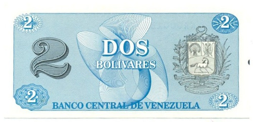 billete de 2 bolívares - tinoquito octubre  1989 serial  aa7