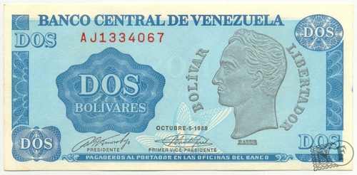 billete de 2 bolívares - tinoquito octubre  1989 serial  aj7
