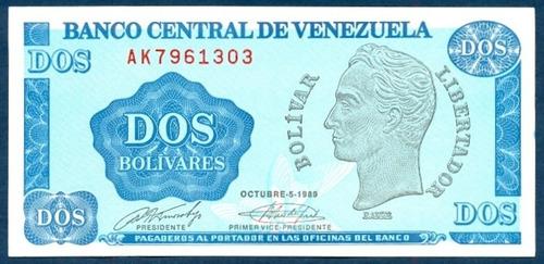 billete de 2 bolívares - tinoquito octubre  1989 serial  ak7