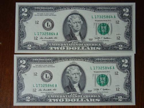 billete de 2 dolares con números del 1 al 8
