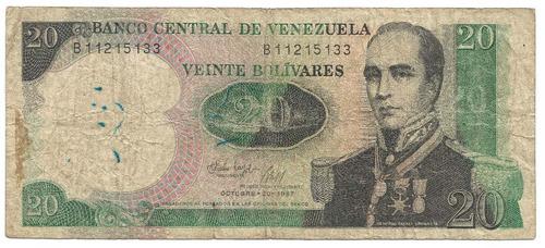billete de 20 bolivares octubre 20 1987 serial n° b 11215133