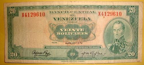 billete de  20 bs 1972 x7
