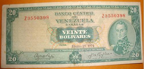 billete de  20 bs 1974 z7